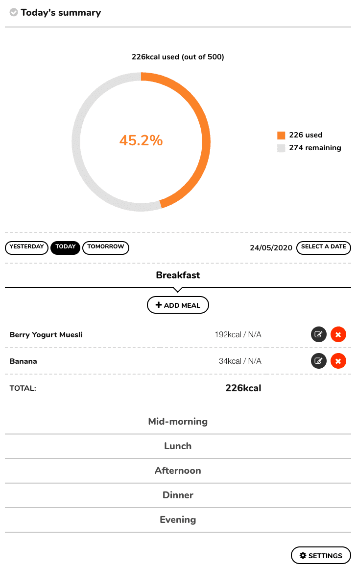 A screenshot of Meal Tracker