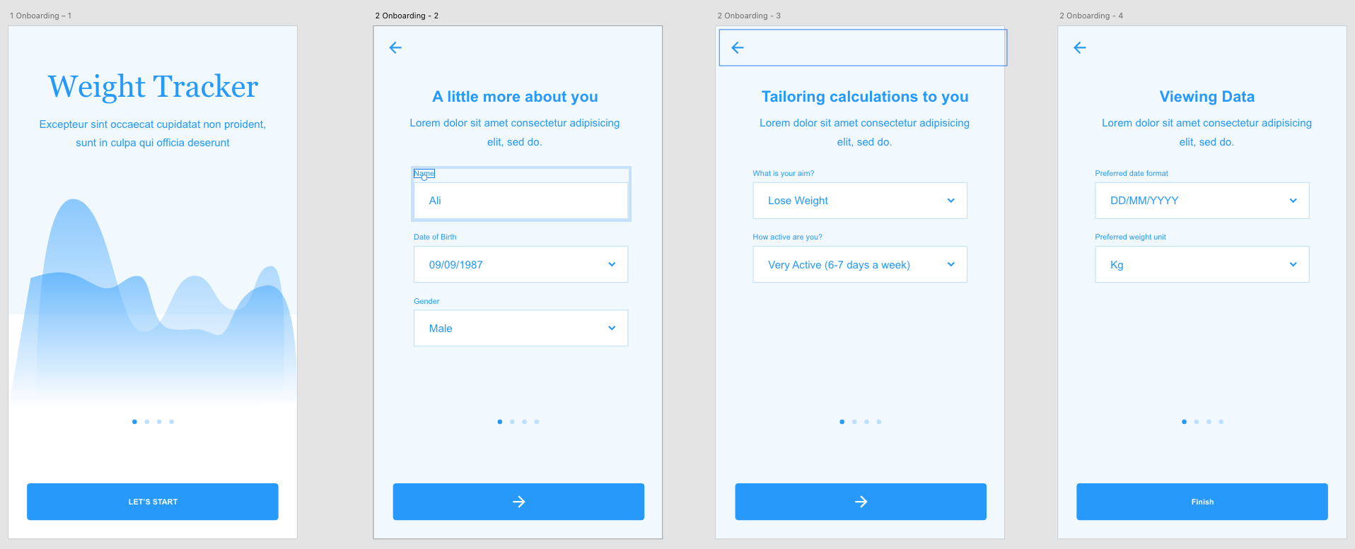 An example mock up of onboarding UI